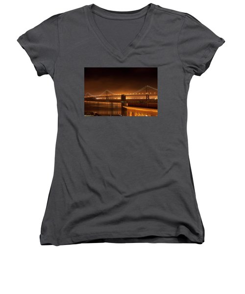 Bay Bridge At Night Women's V-Neck T-Shirt
