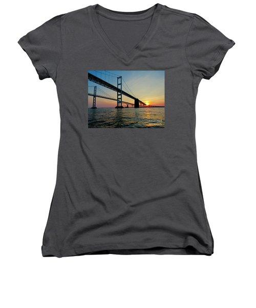 Bay Bridge At Sunset  Women's V-Neck T-Shirt