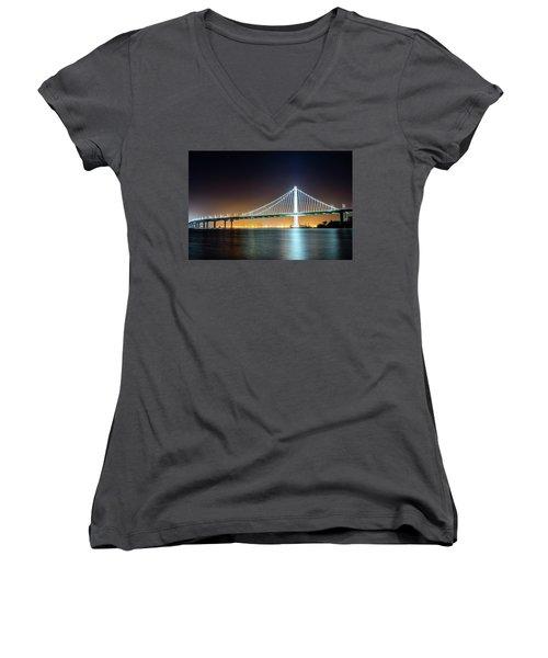 Bay Bridge East By Night 1 Women's V-Neck