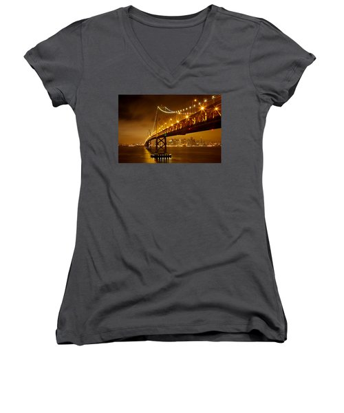 Women's V-Neck T-Shirt (Junior Cut) featuring the photograph Bay Bridge by Evgeny Vasenev