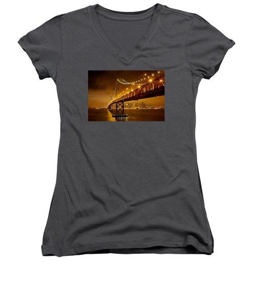 Bay Bridge Women's V-Neck T-Shirt (Junior Cut) by Evgeny Vasenev