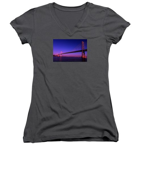 Bay Bridge Sunset Women's V-Neck T-Shirt (Junior Cut) by Linda Edgecomb