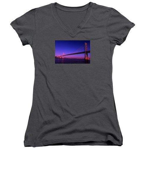 Bay Bridge Sunset Women's V-Neck T-Shirt