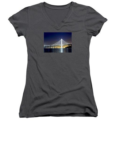 Bay Bridge Under A Blood Moon Women's V-Neck T-Shirt