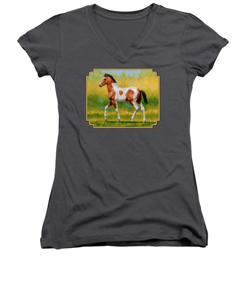 Bay Pinto Foal Women's V-Neck (Athletic Fit)