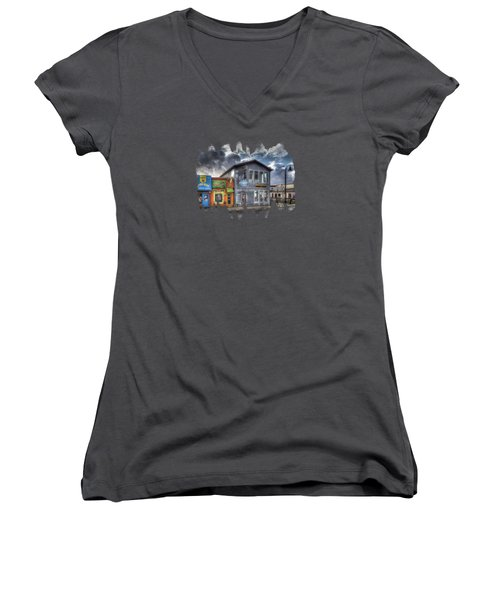Bay Street Morning Women's V-Neck T-Shirt (Junior Cut) by Thom Zehrfeld