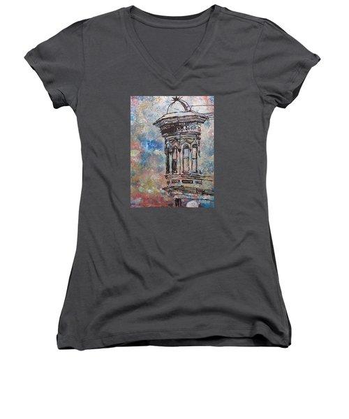 Bay Window Women's V-Neck T-Shirt (Junior Cut) by John Fish
