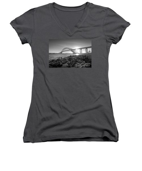 Bayonne Bridge Black And White Women's V-Neck T-Shirt (Junior Cut)