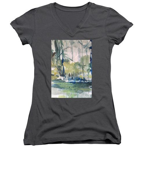 Bayou Blues Abstract Women's V-Neck T-Shirt (Junior Cut) by Robin Miller-Bookhout