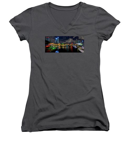Women's V-Neck T-Shirt (Junior Cut) featuring the photograph Bayside Miami Florida At Night Under The Stars by Justin Kelefas
