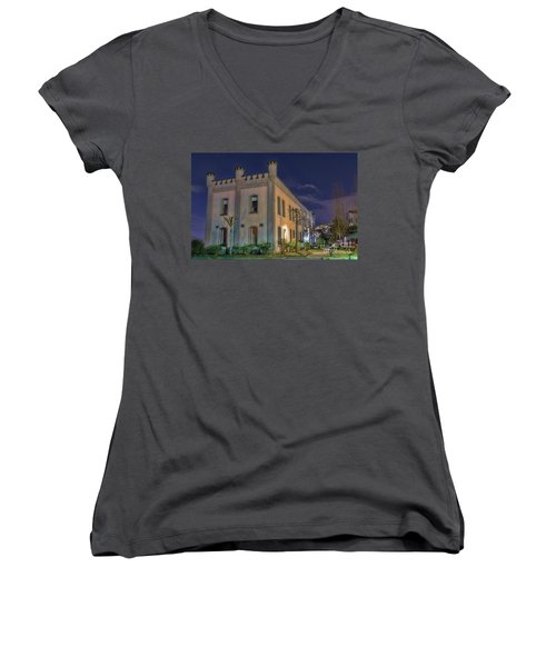 Women's V-Neck T-Shirt (Junior Cut) featuring the mixed media B.c.penitentiary by Jim  Hatch