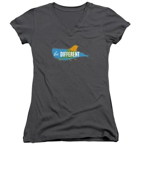 Be Different Women's V-Neck T-Shirt (Junior Cut) by Aloke Creative Store