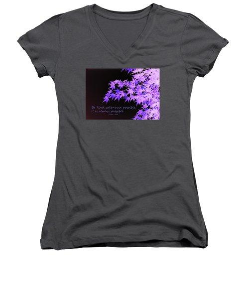 Be Kind Women's V-Neck T-Shirt (Junior Cut) by Susan Lafleur