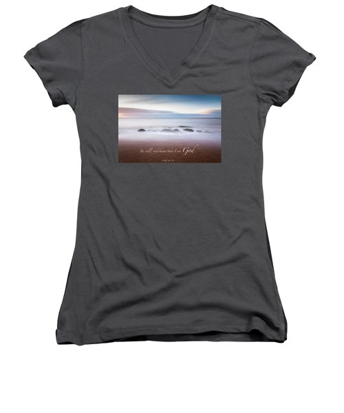 Be Still And Know That I Am God Women's V-Neck (Athletic Fit)