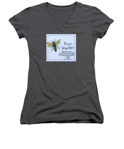Be You Women's V-Neck T-Shirt (Junior Cut) by Elizabeth Robinette Tyndall