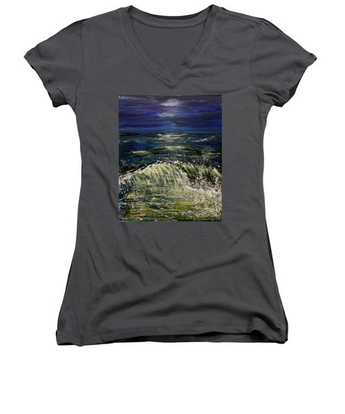 Beach At Night Women's V-Neck