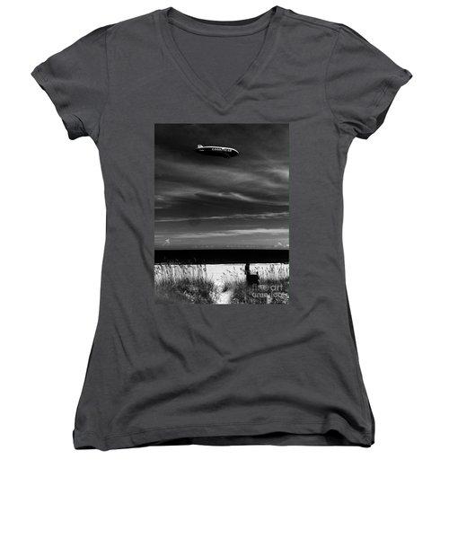 Beach Blimp Women's V-Neck T-Shirt (Junior Cut) by WaLdEmAr BoRrErO