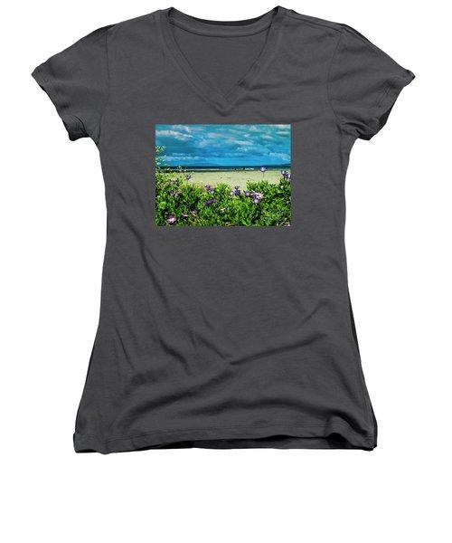 Beach Daisies Women's V-Neck T-Shirt (Junior Cut) by Karen Lewis