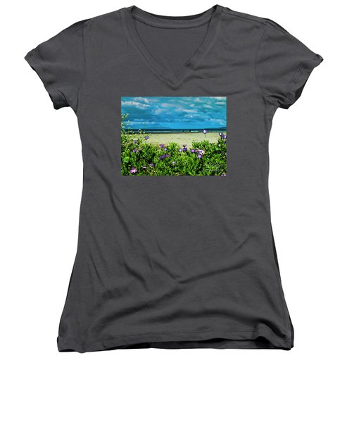 Beach Daisies Women's V-Neck (Athletic Fit)