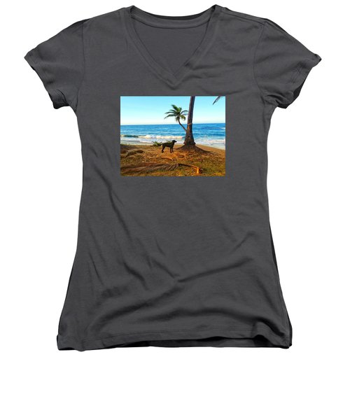 Beach Dog  Women's V-Neck (Athletic Fit)