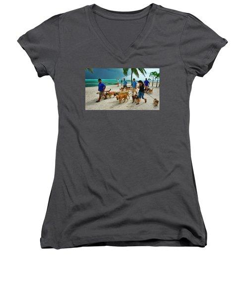 Beach Dog Walkers On Ambergris Caye, Belize Women's V-Neck