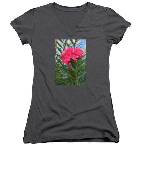 Beach Flower Women's V-Neck T-Shirt (Junior Cut) by Deborah  Crew-Johnson