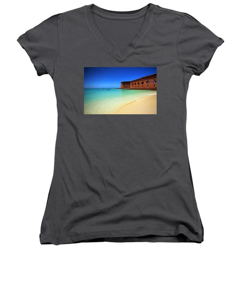 Beach Fort. Women's V-Neck (Athletic Fit)