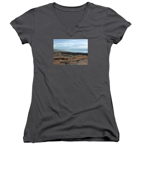 Women's V-Neck T-Shirt (Junior Cut) featuring the photograph Beach by Gene Cyr