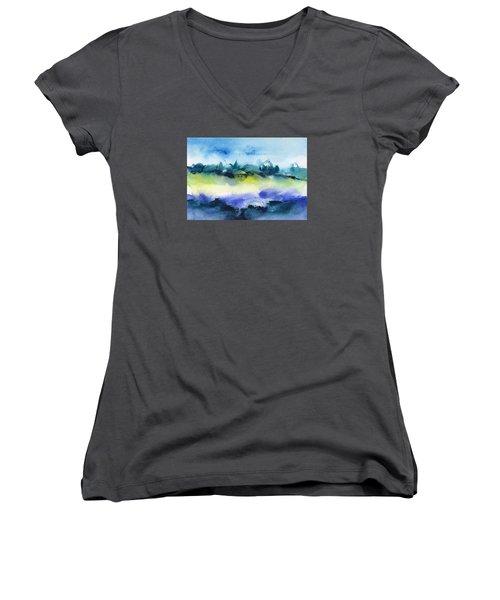 Beach Hut Abstract Women's V-Neck T-Shirt (Junior Cut) by Frank Bright