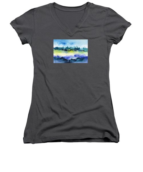 Beach Hut Abstract Women's V-Neck (Athletic Fit)
