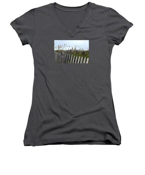 Beach Is Calling Women's V-Neck T-Shirt (Junior Cut) by Deborah  Crew-Johnson