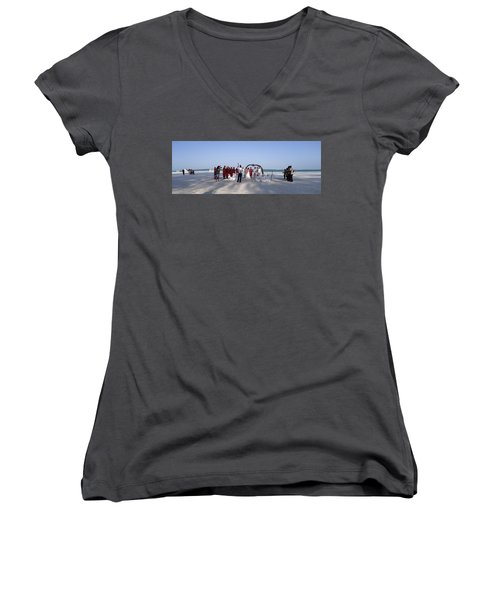 Beach Panoramic Wedding  Women's V-Neck (Athletic Fit)