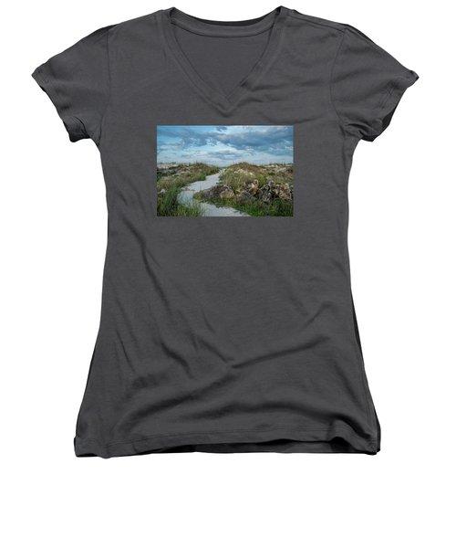 Women's V-Neck T-Shirt (Junior Cut) featuring the photograph Beach Path by Louis Ferreira