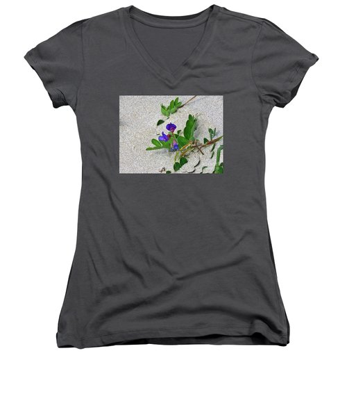 Beach Pea Vine Women's V-Neck T-Shirt (Junior Cut) by Michele Penner