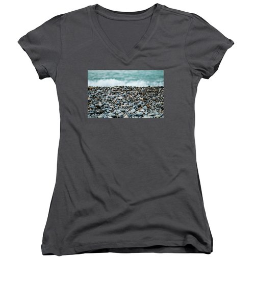 Women's V-Neck T-Shirt (Junior Cut) featuring the photograph Beach Pebbles by MGL Meiklejohn Graphics Licensing
