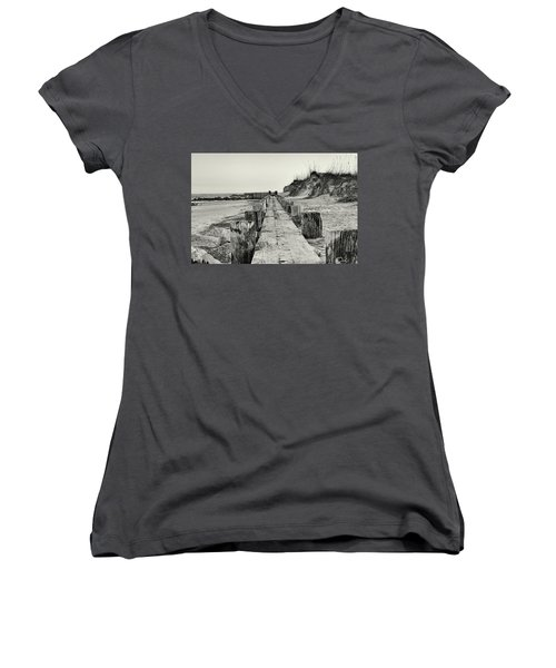 Beach Pilings Women's V-Neck (Athletic Fit)