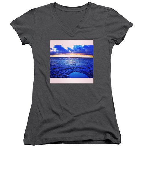 Beach Puddle. #beach #sunset Women's V-Neck