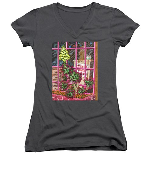 Women's V-Neck T-Shirt (Junior Cut) featuring the painting Beach Side Storefront Window by Katherine Young-Beck