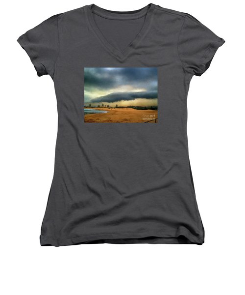 Women's V-Neck T-Shirt featuring the photograph Beach Storm At Sunset By Kaye Menner by Kaye Menner
