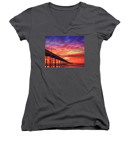 Beach Sunset Ocean Wall Art San Diego Artwork Women's V-Neck (Athletic Fit)