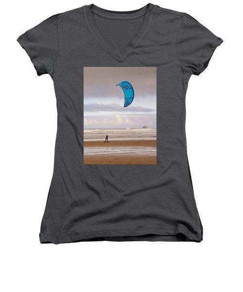 Women's V-Neck T-Shirt (Junior Cut) featuring the photograph Beach Surfer by Wendy McKennon