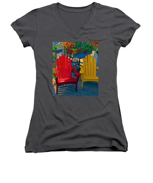 Beach Town Charm Women's V-Neck T-Shirt (Junior Cut) by Marie Hicks