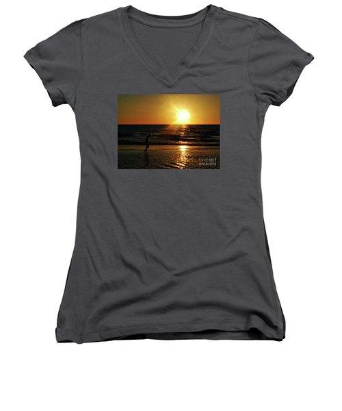 Beach Walking Women's V-Neck T-Shirt (Junior Cut) by Gary Wonning