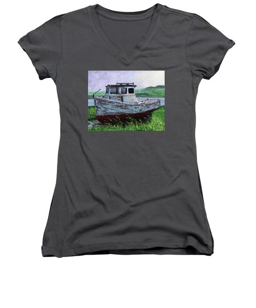 Beached At Bay Of Ayre Women's V-Neck (Athletic Fit)