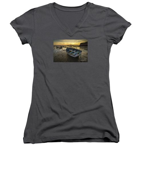 Beached Boat On La Caleta Cadiz Spain Women's V-Neck T-Shirt (Junior Cut) by Pablo Avanzini