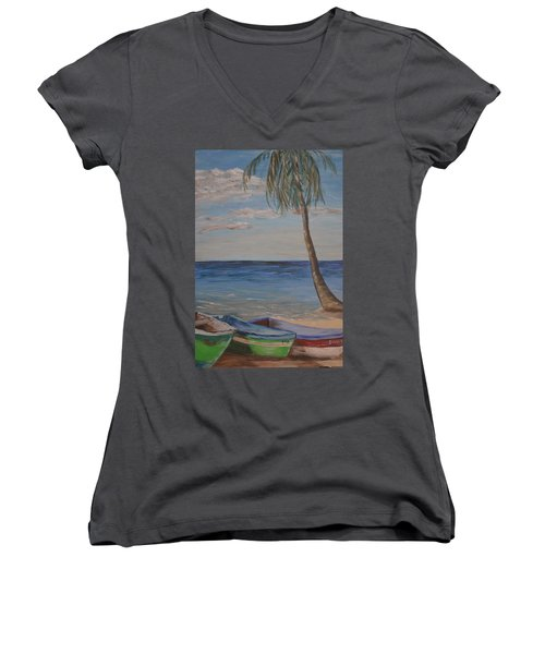 Women's V-Neck T-Shirt (Junior Cut) featuring the painting Beached by Debbie Baker