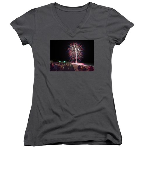 Women's V-Neck T-Shirt (Junior Cut) featuring the photograph Beachside Spectacular by Bill Pevlor