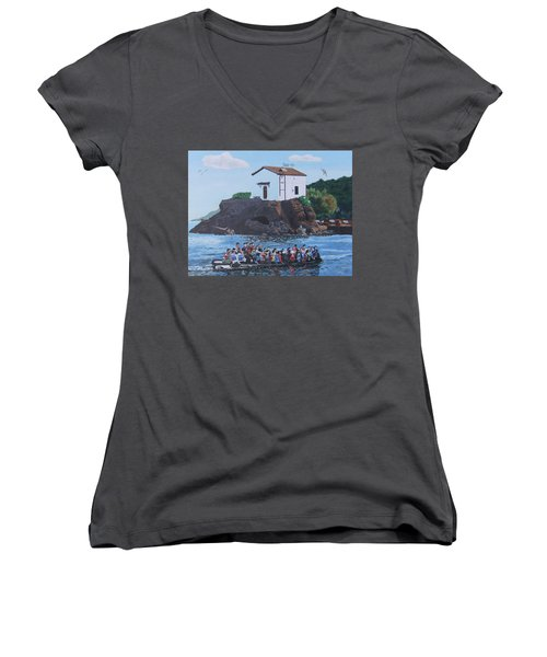 Women's V-Neck T-Shirt (Junior Cut) featuring the painting Beacon Of Hope by Eric Kempson