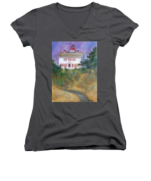 Beacon On The Hill - Lighthouse Painting Women's V-Neck
