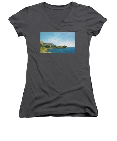 Women's V-Neck T-Shirt (Junior Cut) featuring the painting Bealieu - The Bay Of Fourmis by Eugene Boudin
